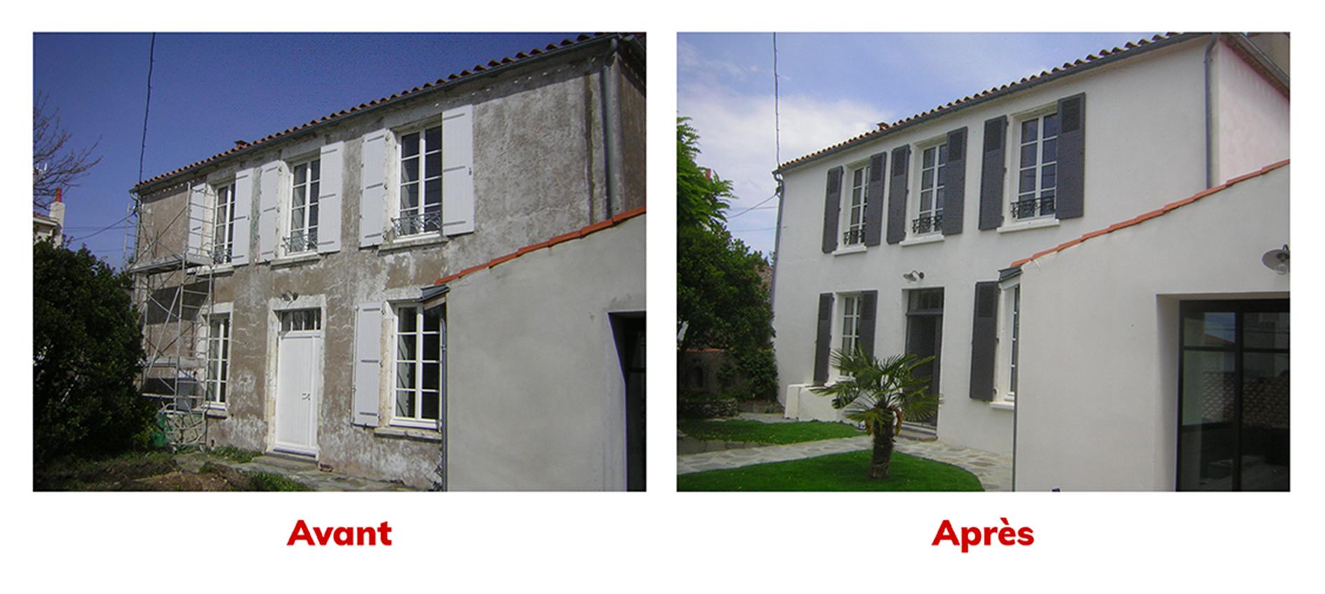 Photos avant-après de la rénovation d'une façade par l'entreprise ROGER SAS en Loire Atlantique